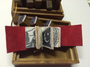 "1"" x 1.25"" red leather with moon and star prints"